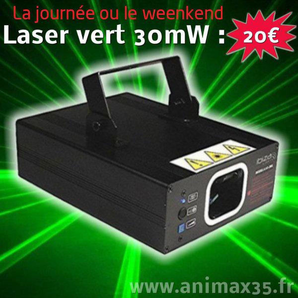 Location éclairage Nantes - Laser vert 30 mw - Bretagne
