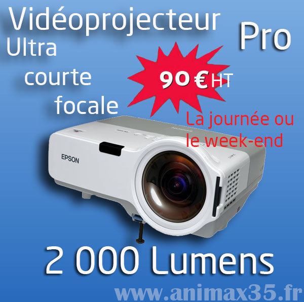 Location de vidéoprojecteur pro Saint Herblain - 2 000 lumens - Animax35