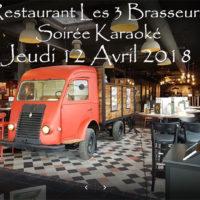 Soirée Karaoké Jeudi 12 Avril 2018 à Rennes au restaurant Les Trois Brasseurs (316 rue de Saint Malo)