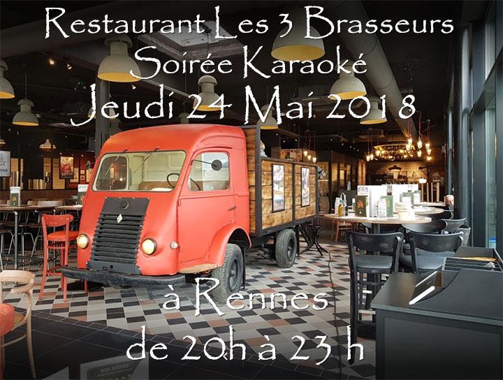 Soirée Karaoké Jeudi 24 Mai 2018 à Rennes au restaurant Les Trois Brasseurs (316 rue de Saint Malo)