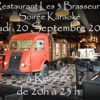 Soirée Karaoké Jeudi 20 Septembre 2018 à Rennes au restaurant Les Trois Brasseurs (316 rue de Saint Malo)