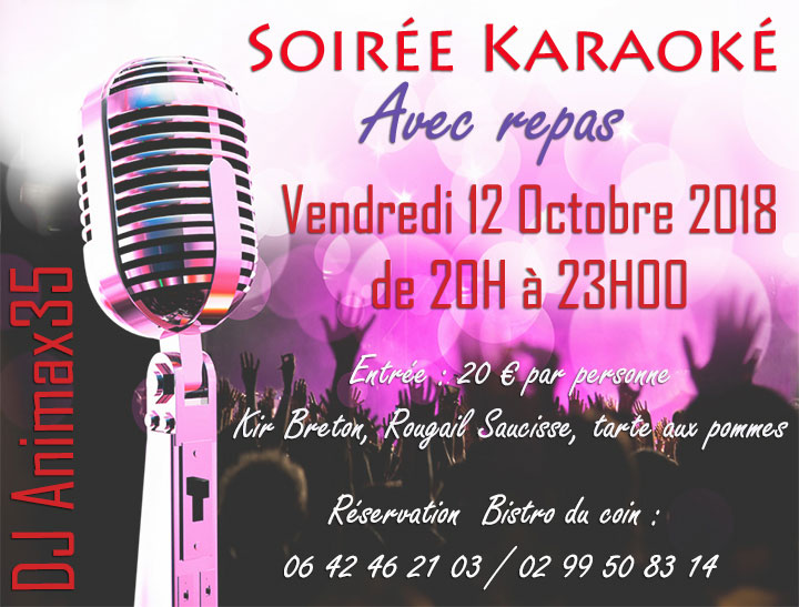 Soirée Karaoké Vendredi 12 Octobre 2018 au Bistro du coin à Rennes