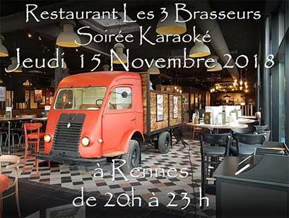 Soirée Karaoké Jeudi 15 Novembre 2018 à Rennes au restaurant Les Trois Brasseurs (316 rue de Saint Malo)